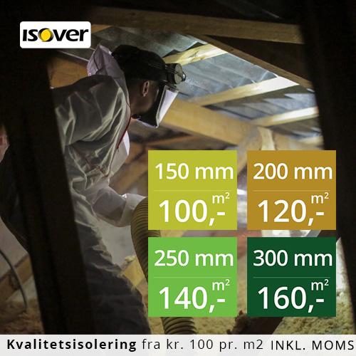 Usædvanlig Loftisolering med Isover granulat - priser fra 100 kr / m2 IQ02