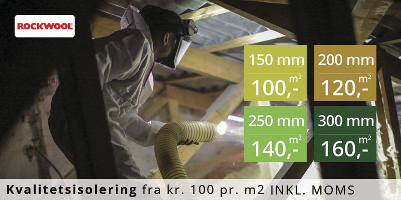 Loftisolering med Rockwool granulat - priser fra 100 kr / m2